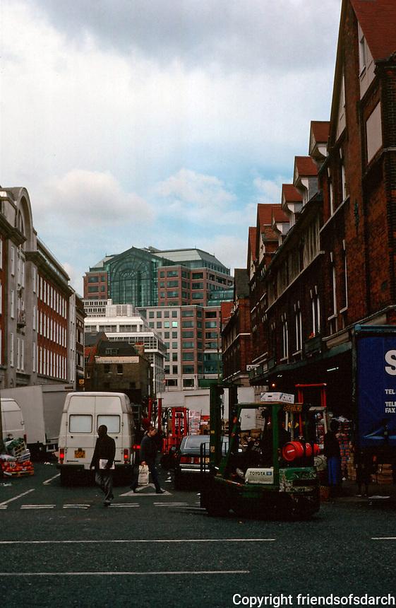 London:  Spitalfields Market.  Broadgate behind.  Photo '90.