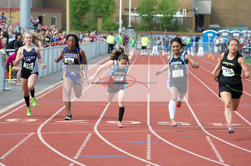 Chugiak's Cerina Bush and Ariana Davis finish fourth and second respectively in the 100-meter dash at the State Track and Field championships Saturday, May 28, 2016.