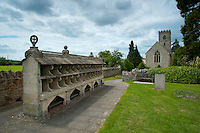 The Bee Shelter at Hartpury Church, Hartpury, Gloucestershire. It contains 33 boles built to house straw bee skeps. Built in mid 19th century.