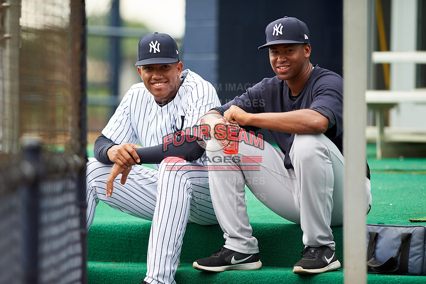 GCL Yankees East Wellington Diaz (54) Nelvin Correa (50) during the first game of a doubleheader against the GCL Yankees West on July 19, 2017 at the Yankees Minor League Complex in Tampa, Florida.  GCL Yankees West defeated the GCL Yankees East 11-2.  (Mike Janes/Four Seam Images)