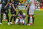 20.07.2018, Zillertalarena, Zell am Ziller, AUT, FSP, 1.FBL, SV Werder Bremen (GER) vs 1. FC Koeln (GER), im Bild<br /> Sehrou Guirassy (Koeln #19) nach einem das Schauspiel des Verletzte dahinter Florian Kainz (Werder Bremen #07) Theodor Gebre Selassie (Werder Bremen #23)<br /> <br /> Foto © nordphoto / Kokenge