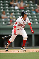 Catcher Samuel Miranda (21) of the Greenville Drive bats in a game against the Augusta GreenJackets on Thursday, May 17, 2018, at Fluor Field at the West End in Greenville, South Carolina. Augusta won, 2-1. (Tom Priddy/Four Seam Images)