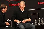 Moderator Hugo Lindgren & Matt Damon on stage at TimesTalks at the Times Center in New York City. November 27, 2012.
