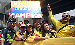 Nairo Quintana (COL) Movistar Team with some of his fans at sign on before the start of Stage 2 the Nation Towers Stage of the 2017 Abu Dhabi Tour, running 153km around the city of Abu Dhabi, Abu Dhabi. 24th February 2017<br /> Picture: ANSA/Matteo Bazzi | Newsfile<br /> <br /> <br /> All photos usage must carry mandatory copyright credit (&copy; Newsfile | ANSA)
