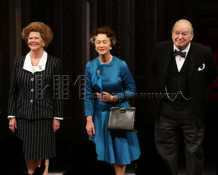 Judith Ivey, Helen Mirren and Dakin Matthews take a bow during curtain call for the Broadway Opening night of 'The Audience' at the Gerald Schoenfeld Theatre on March 8, 2015 in New York City.