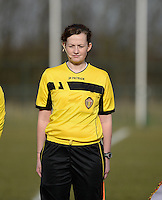 20150307 - TUBIZE , BELGIUM : belgian assistant referee Jolien Delcroix pictured during the friendly female soccer match between Women under 19 teams of  Belgium and Czech Republic . Saturday 7th March 2015 . PHOTO DAVID CATRY