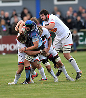 Bedford, England. Mike Howard of Bedford Blues in action during The Championship Bedford Blues vs Newcastle Falcons at Goldington Road  Bedford, England on November 3, 2012
