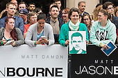London, UK. 11 July 2016. Fans await the arrival of the stars. Red carpet arrivals for the European Premiere of the Universal movie Jason Bourne (2016) in London's Leicester Square.