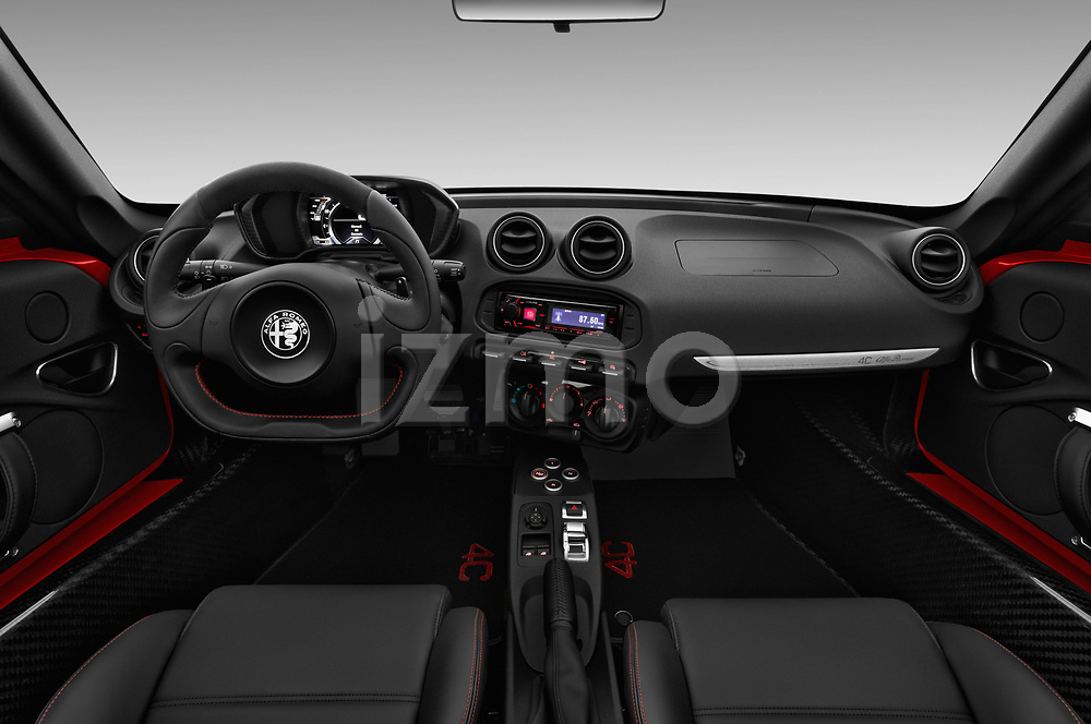 Stock photo of straight dashboard view of a 2019 Alfa Romeo 4C Spider 2 Door Convertible