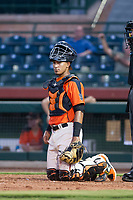 AZL Giants catcher Ricardo Genoves (15) on defense during a game against the AZL Angels on July 10, 2017 at Scottsdale Stadium in Scottsdale, Arizona. AZL Giants defeated the AZL Angels 3-2. (Zachary Lucy/Four Seam Images)