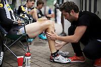pre-race massage<br /> <br /> stage 4: Hotel Verviers - La Gileppe (187km)<br /> 29th Ster ZLM Tour 2015