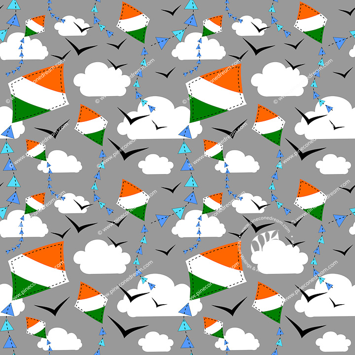 Seamless repeatable pattern vector background with Indian flag kites flying in sky with clouds and birds.<br />