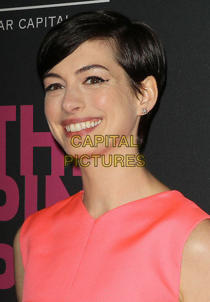 Anne Hathaway<br /> The Pink Party 2013 held at the Santa Monica Airport, Santa Monica, California, USA.<br /> October 19th, 2013<br /> headshot portrait eyeliner flick smiling <br /> CAP/ADM/KB<br /> &copy;Kevan Brooks/AdMedia/Capital Pictures