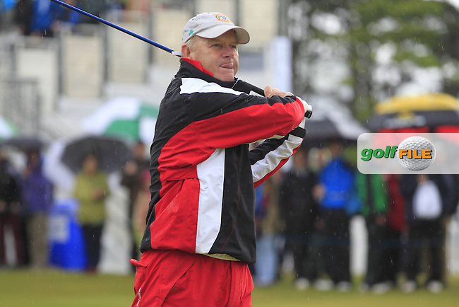 Sergio Garcia (ESP) team tees off the 1st tee during the Pro-Am of the 2015 Dubai Duty Free Irish Open, Royal County Down Golf Club, Newcastle Co Down, Northern Ireland. 27/05/2015 <br /> Picture Eoin Clarke, www.golffile.ie