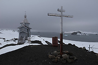ANTARCTICA - NOVEMBER 27: Chilean family members of naval officers visit the Russian Orthodox Church of the Holy Trinity on the Bellingshausen base the 27th of November, 2015 near Villa Las Estrellas, in the Fildes Peninsula on King George Island, Antarctica. <br /> <br /> Daniel Berehulak for The New York Times