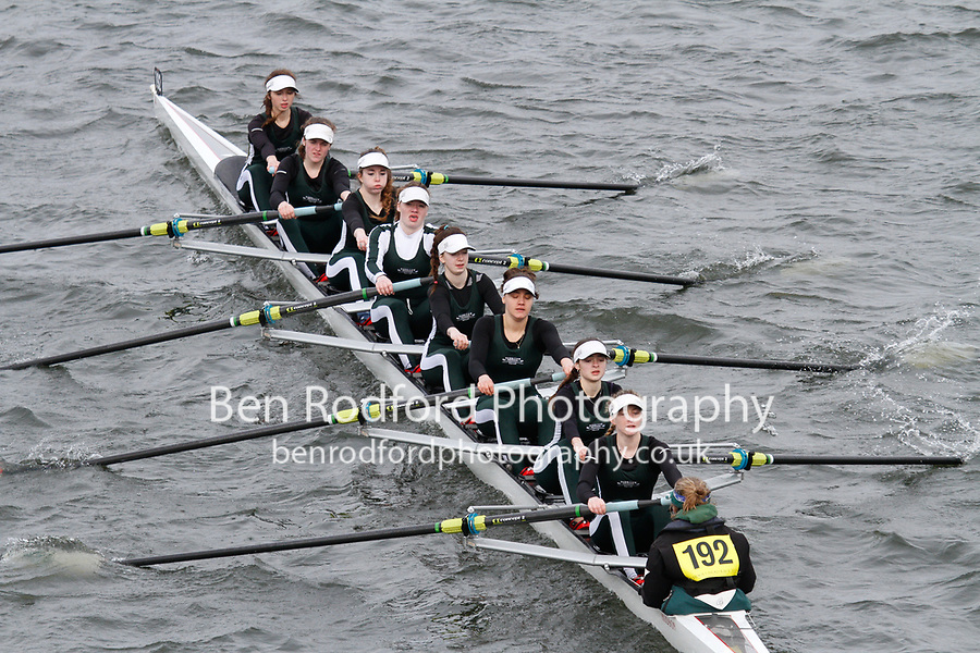 Crew: 192  Surbiton H Sch  Event: Girls School 1st eights<br /> <br /> Schools' Head of the River 2017<br /> <br /> To purchase this photo, or to see pricing information for Prints and Downloads, click the blue 'Add to Cart' button at the top-right of the page.