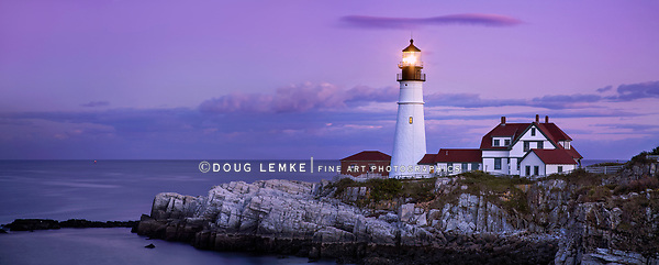 The Benevolent Sentinel, The Portland Head Light After Sunset, Portland Maine, Panoramic View