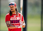 27 February 2017: Washington Nationals infielder Emmanuel Burriss awaits his turn in the batting cage during a Spring Training workout at the Ballpark of the Palm Beaches in West Palm Beach, Florida. Mandatory Credit: Ed Wolfstein Photo *** RAW (NEF) Image File Available ***
