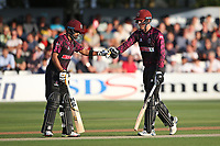 Babar Aazam (L) and Tom Banton enjoy a useful partnership for Somerset during Essex Eagles vs Somerset, Vitality Blast T20 Cricket at The Cloudfm County Ground on 7th August 2019