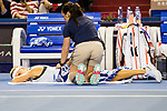 Elena Vesnina of Russia receives medical treatment during the singles Round Robin match of the WTA Elite Trophy Zhuhai 2017 against Coco Vandeweghe of United States at Hengqin Tennis Center on November  02, 2017 in Zhuhai, China.Photo by Yu Chun Christopher Wong / Power Sport Images