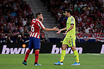 Atletico de Madrid's Jorge Resurreccion 'Koke' and Getafe CF's Jorge Molina (dejected) have words with during La Liga match between Atletico de Madrid and Getafe CF at Wanda Metropolitano Stadium in Madrid, Spain. August 18, 2019. (ALTERPHOTOS/A. Perez Meca)