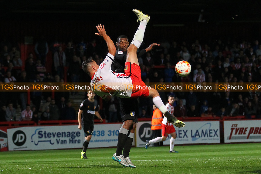 Brett Williams of Stevenage attempts an overhead kick during Stevenage vs Mansfield Town, Sky Bet League 2 Football at the Lamex Stadium, Stevenage, England on 29/09/2015