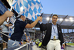 09 June 2011: Kansas City team president Robb Heineman (right) greets fans before the game. Sporting Kansas City played the Chicago Fire to a 0-0 tie in the inaugural game at LIVESTRONG Sporting Park in Kansas City, Kansas in a 2011 regular season Major League Soccer game.