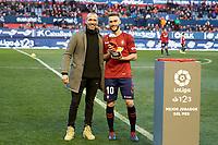 Roberto Torres (midfield; CA Osasuna) and Patxi Puñal before the Spanish football of La Liga 123, match between CA Osasuna and  Granada CF at the Sadar stadium, in Pamplona (Navarra), Spain, on Sunday, February 3, 2019.