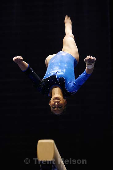 Alethea Boon, 9.2 on beam. BYU vs. Utah women's college gymnastics, at the Marriott Center