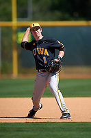 Iowa Hawkeyes third baseman Mason McCoy (1) during a game against the Dartmouth Big Green on February 27, 2016 at South Charlotte Regional Park in Punta Gorda, Florida.  Iowa defeated Dartmouth 4-1.  (Mike Janes/Four Seam Images)