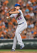 New York Mets relief pitcher Tyler Clippard (46) works in the eighth inning against the Baltimore Orioles at Oriole Park at Camden Yards in Baltimore, Maryland on Wednesday, August 19, 2015.  The Orioles won the game 5 - 4.<br /> Credit: Ron Sachs / CNP<br /> (RESTRICTION: NO New York or New Jersey Newspapers or newspapers within a 75 mile radius of New York City)