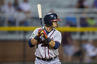 Jeffrey Ramos (13) of the Danville Braves at bat against the Burlington Royals at Burlington Athletic Stadium on August 14, 2017 in Burlington, North Carolina.  The Royals defeated the Braves 9-8 in 10 innings.  (Brian Westerholt/Four Seam Images)