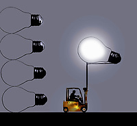 Forklift truck moving illuminated light bulb