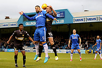 Max Ehmer of Gillingham and Bury's Tom Alfred in an aerial challenge during Gillingham vs Bury, Sky Bet EFL League 1 Football at the MEMS Priestfield Stadium on 11th November 2017
