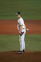 Hillsboro Hops relief pitcher Harrison Francis (24) looks in for the sign during a Northwest League game against the Salem-Keizer Volcanoes at Ron Tonkin Field on September 1, 2018 in Hillsboro, Oregon. The Salem-Keizer Volcanoes defeated the Hillsboro Hops by a score of 3-1. (Zachary Lucy/Four Seam Images)