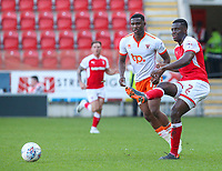 Rotherham United's Josh Emmanuel gets a pass away under pressure from Blackpool's Viv Solomon-Otabor<br /> <br /> Photographer Alex Dodd/CameraSport<br /> <br /> The EFL Sky Bet League One - Rotherham United v Blackpool - Saturday 5th May 2018 - New York Stadium - Rotherham<br /> <br /> World Copyright &copy; 2018 CameraSport. All rights reserved. 43 Linden Ave. Countesthorpe. Leicester. England. LE8 5PG - Tel: +44 (0) 116 277 4147 - admin@camerasport.com - www.camerasport.com