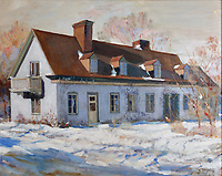 Manoir Boucher de Niverville, painting, 1950, by Raymond Lasnier, in the Museum in the Manoir Boucher de Niverville, built in 1668 in French colonial style by Jacques LeNeuf de la Poterie, Governor of Trois-Rivieres, on the Rue Bonaventure in Trois-Rivieres, Mauricie, on the Chemin du Roi, Quebec, Canada. The Chemin du Roy or King's Highway is a historic road along the Saint Lawrence river built 1731-37, connecting communities between Quebec City and Montreal. Picture by Manuel Cohen