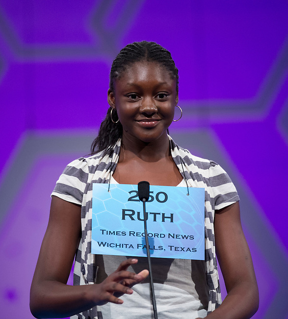 Speller 250 Ruth O. Anwasi competes in the preliminary rounds of the Scripps National Spelling Bee at the Gaylord National Resort and Convention Center in National Habor, Md., on Wednesday,  May 30, 2012. Photo by Bill Clark
