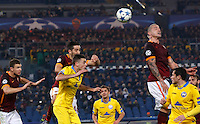 Calcio, Champions League: Gruppo E - Roma vs Bate Borisov. Roma, stadio Olimpico, 9 dicembre 2015.<br /> Roma's Radja Nainggolan, top right, heads the ball during the Champions League Group E football match between Roma and Bate Borisov at Rome's Olympic stadium, 9 December 2015.<br /> UPDATE IMAGES PRESS/Riccardo De Luca