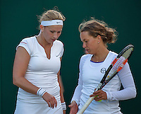 London, England, 2 July, 2016, Tennis, Wimbledon, Womans Doubles: Michaella Krajicek (NED) and her partner Barbora Zahlavova Strycova (CZE) (R)<br /> Photo: Henk Koster/tennisimages.com