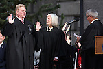 Supreme Court Justices Mark Gibbons and Kristina Pickering take the oath of office from Chief Justice James Hardesty during the inaugural ceremony on the steps of the Capitol, in Carson City, Nev., on Monday, Jan. 5, 2015. (Las Vegas Review-Journal/Cathleen Allison)