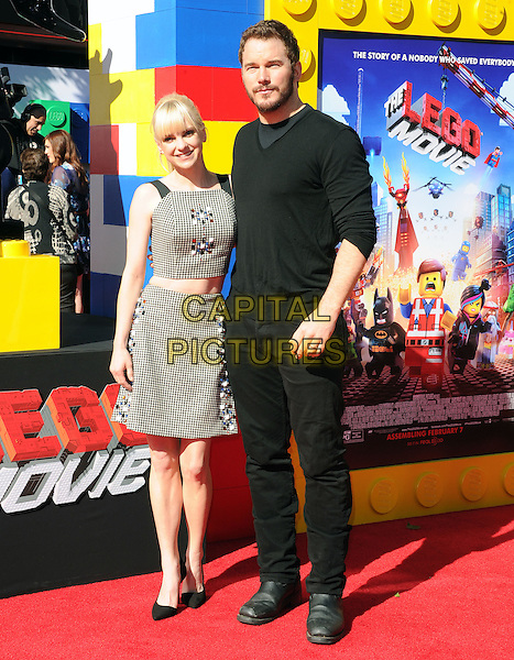 Anna Faris and Chris Pratt attends The Warner Bros' Pictures L.A. Premiere of The Lego Movie held at The Regency Village in Westwood, California on February 01,2014                                                                                <br /> CAP/DVS<br /> &copy;Debbie VanStory/Capital Pictures
