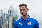 Leicester City's Elliott Moore speaks to the media in front of Hong Kong's urban landscape to celebrate the launch of the HKFC Citi Soccer Sevens on 19 May 2016 in Causeway Bay, Hong Kong, China. Photo by Lucas Schifres / Power Sport Images