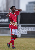 FIFA Manny during the SOCCER SIX Celebrity Football Event at the Queen Elizabeth Olympic Park, London, England on 26 March 2016. Photo by Andy Rowland.