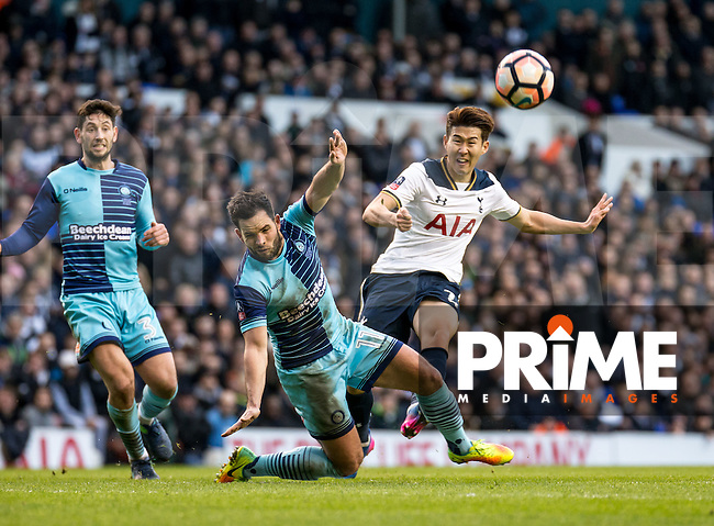 Son Heung-Min of Tottenham Hotspur shoots during the FA Cup 4th round match between Tottenham Hotspur and Wycombe Wanderers at White Hart Lane, London, England on the 28th January 2017. Photo by Liam McAvoy.