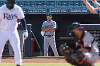 Glendale Desert Dogs manager Dave Anderson (18), of the Baltimore Orioles organization, in the dugout during an Arizona Fall League game against the Peoria Javelinas at Peoria Sports Complex on October 22, 2018 in Peoria, Arizona. Glendale defeated Peoria 6-2. (Zachary Lucy/Four Seam Images)