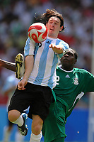 Lionel Messi Argentina and Onyekachi Apam of Nigeria, during the Olympic Games final. Argentina beats Nigeria 1-0 and won the gold medal <br /> National Indoor - Bird Nest - Football - Calcio<br /> Pechino - Beijing 23/8/2008 Olimpiadi 2008 Olympic Games<br /> Foto Andrea Staccioli Insidefoto