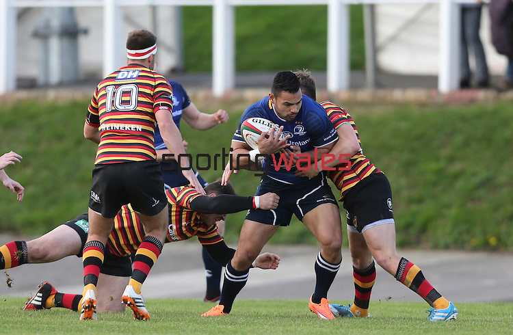 Leinster centre Ben Te'o crashes into Quins centre Steffan Hughes.<br /> British &amp; Irish Cup<br /> Carmarthen Quins v Leinster A<br /> Carmarthen Park<br /> 25.10.14<br /> &copy;Steve Pope-SPORTINGWALES
