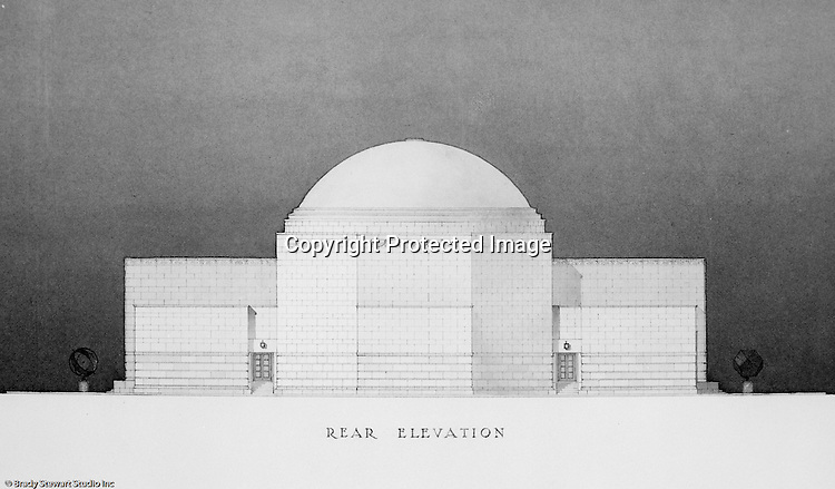 Pittsburgh PA:  View of a rendering created by J.A. Mitchell of the new Buhl Planetarium.  This view is of the building's rear entrance and elevation.  The project was completed in 1939.  The Buhl Planetarium was built with monies from the Buhl Foundation; a foundation created by the wealthy North Side clothier Henry Buhl of Boggs and Buhl department store fame.  Brady Stewart was selected for the job due to his specialized equipment; an 8x10 Dierdorff camera, and his expertise in lighting and photographing large renderings and drawings.