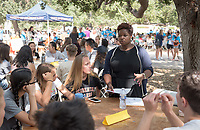 Ainsley LeSure, Assistant Professor, Politics. Individual faculty advising appointments in the Academic Quad for incoming first-years at the start of Occidental College's Fall Orientation for the class of 2021, Aug. 25, 2017.<br /> (Photo by Marc Campos, Occidental College Photographer)